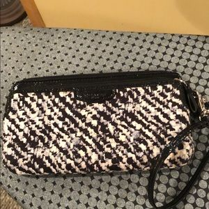 "Coach wristlet. Black/gray. 7.5"" x 4.5""."